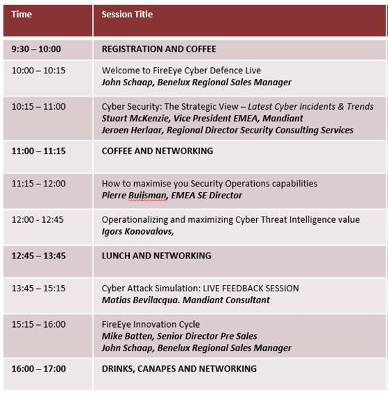 Cyber Defence Live Agenda